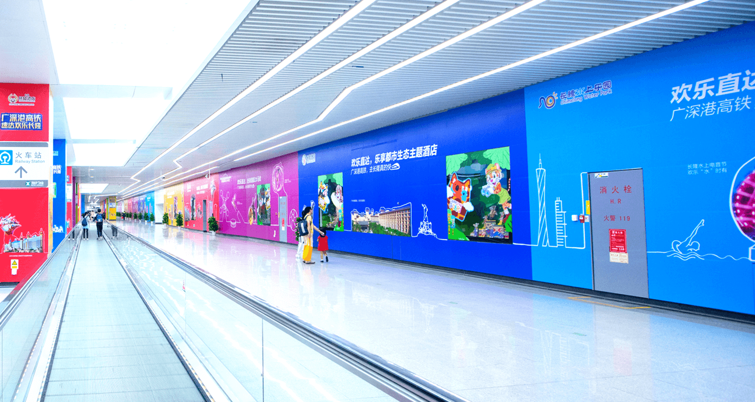 "天泓文創,Icon Media exclusive advertising resources, Icon Media exclusive advertising frame displays registered under the brand name ""Visual Media"", OOH billboards located at CBD, Integrated media in communities, Our advertising resources and spaces have a widespread coverage. They are located in 21 cities of the Guangdong province; in 115 terminals (subway and railway); in 195 cities of the PRC.We have 120,0000+ secured advertising spaces."